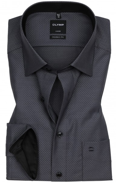 Hemden Extra Langer Arm 69 cm, OLYMP Luxor modern fit, Gemustert Schwarz/Grau