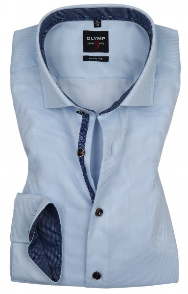 OLYMP Extra langer Arm 69 cm, Hemden Level 5 Body Fit, Struktur Hellblau