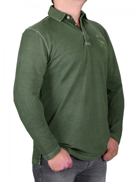K I T A R O Poloshirt Langarm in Olive Extralang
