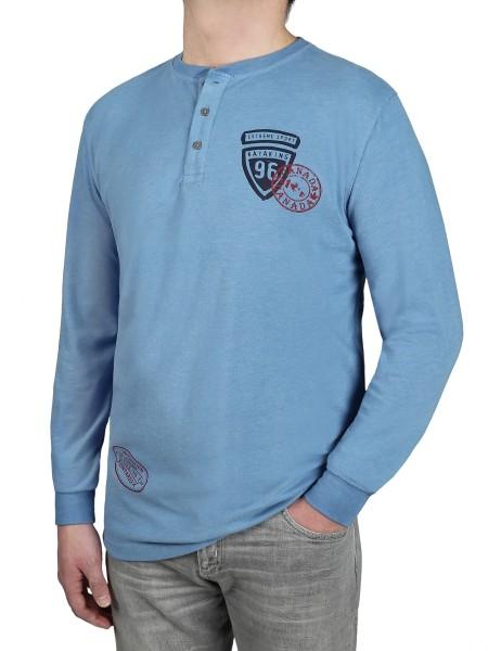 KITARO Langarm- T-Shirt in extra lang, Blau