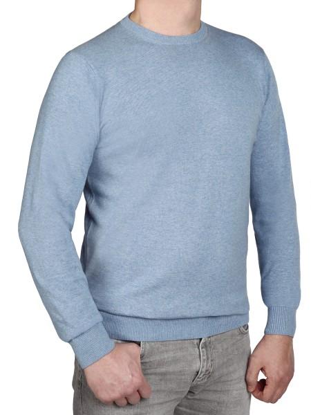 Extra langer Pullover Herren, K I T A R O-Rundhals, in Hellblau