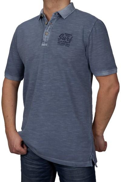 KITARO Poloshirt in extra lang in Blau