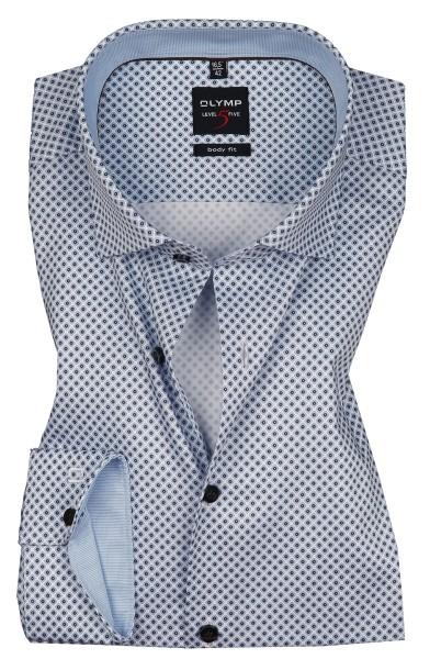 OLYMP Extra langer Arm 69 cm, Hemden Level 5 Body Fit, Gemustert Hellblau