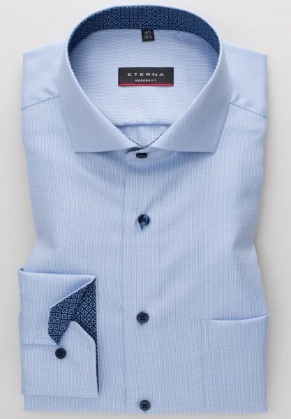 Hemden Extra langer Arm 72 cm, E T E R N A modern fit, Gemustert Hellblau