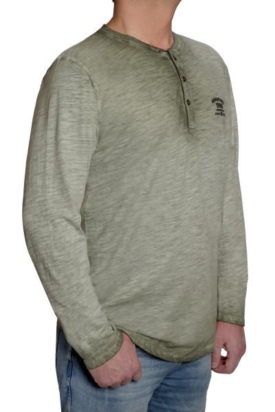 Langarm T-Shirt KITARO, Rundhals mit Knopfleiste- EXTRALANG