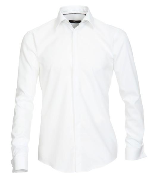 Hemd Venti Slim Fit, mit Umschlagmanschetten, Weiß, Extra langer Arm 72cm