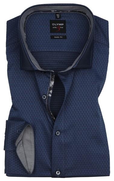 Hemden Extra langer Arm 69 cm, OLYMP Level 5 Body Fit, Struktur Blau