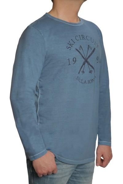 Langarm T-Shirt KITARO, Blau mit Rundhals- EXTRALANG