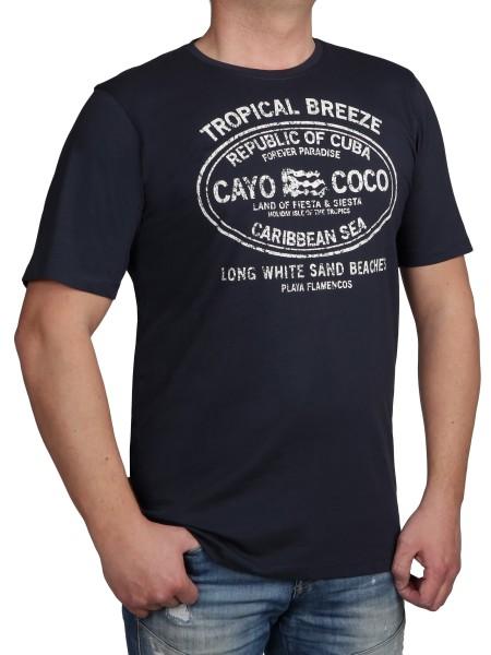 T-Shirt KITARO Dunkel-Blau mit Aufdruck-- EXTRALANG
