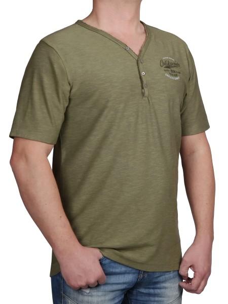T-Shirt KITARO V-Ausschnitt mit Knopfleiste Olive-- extra lang