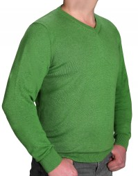 K I T A R O Pullover V-Ausschnitt Grün in EXTRALANG