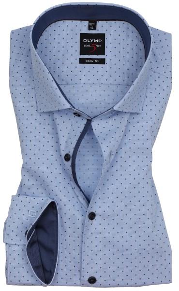 Hemden Extra langer Arm 69 cm, OLYMP Level 5 Body Fit, Gemustert Hellblau