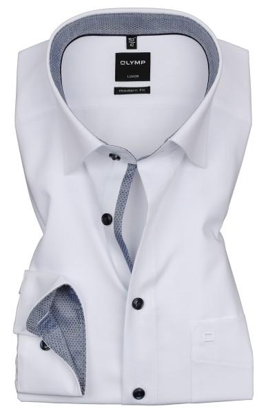 Hemden Extra Langer Arm 69 cm, OLYMP Luxor modern fit, Weiß mit Ausputz