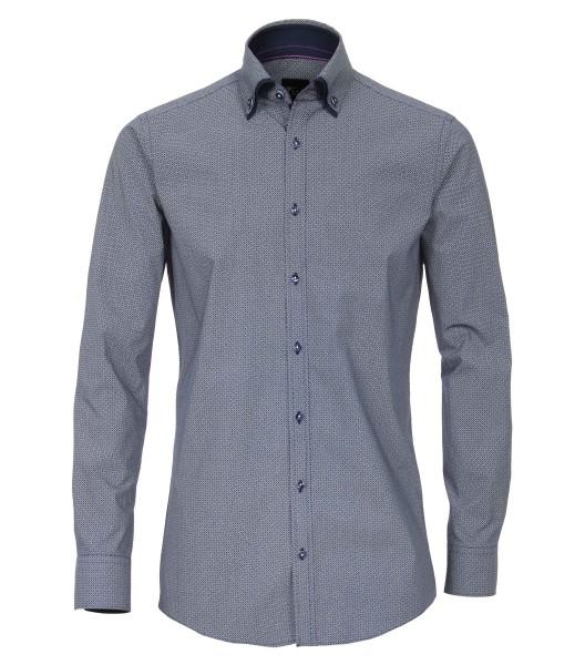 Hemden Extra langer Arm 72 cm,Venti Slim Fit, Gemustert Blau