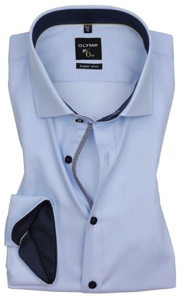 Hemden Extra Langer Arm 69 cm, OLYMP No. Six super slim, Struktur Hellblau