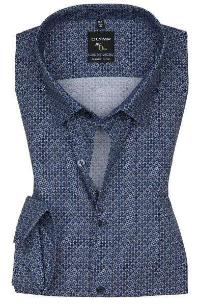 Hemden Extra Langer Arm 69 cm, OLYMP No. Six super slim, Gemustert Blau