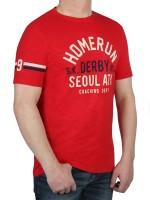 T-Shirt KITARO -Rundhals in Rot mit Aufdruck, in extra lang