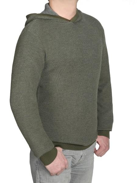 Extra Lang, Pullover mit Kaputze in Olive von Kitaro