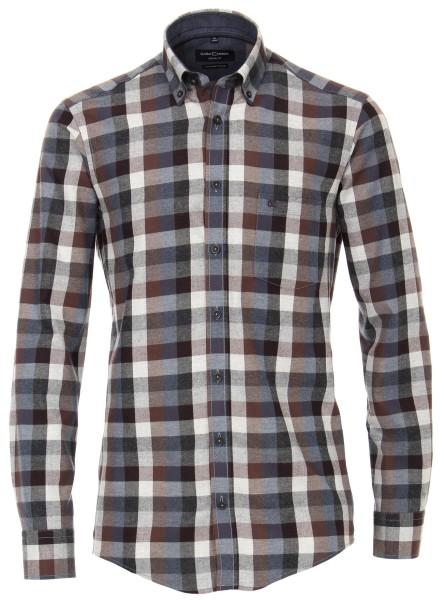FLANELL-Freizeithemd, Extra langer Arm 72 cm, Casa Moda Casual Fit, Kariert Anthrazit