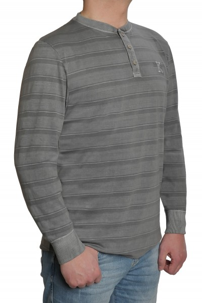 Langarm T-Shirt KITARO, Grau mit Knopfleiste- EXTRALANG