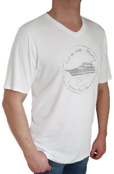 T-Shirt KITARO -Weiß mit V-Ausschnitt, in extra lang