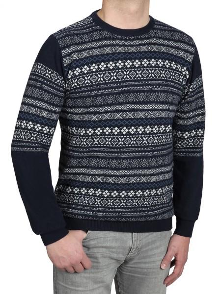 Extra Lang, Pullover in Gemustert Blau von Kitaro