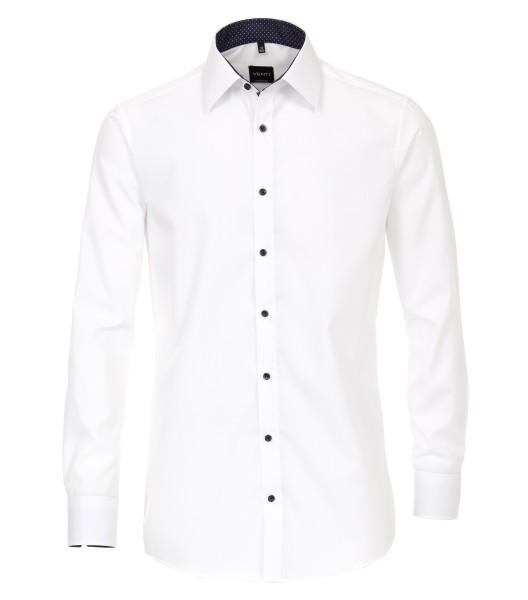 Hemden Extra langer Arm 72 cm, Venti Modern Fit, Weiss mit Ausputz