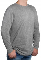 T-Shirt Langarm K I T A R O Rundhals Grau-- EXTRALANG