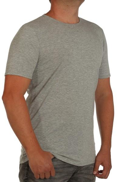 Extra langes K I T A R O- T-Shirt (stretch ) Kurzarm -Rundhals Hellgrau