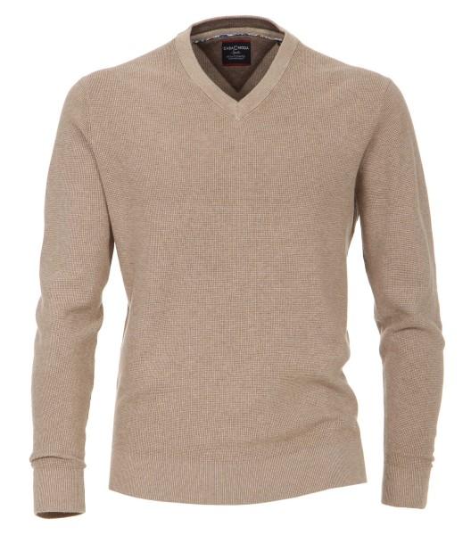 Casa Moda Pullover V-Ausschnitt Beige, EXTRALANG