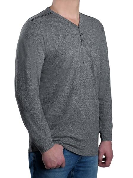 T-Shirt Langarm KITARO, V-Ausschnitt mit Knopfleiste in Grau mel. --EXTRALANG
