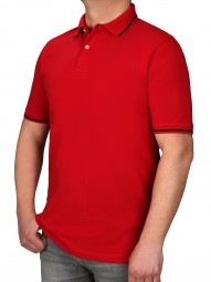 Poloshirt KITARO Rot--Rumpf und Kurzärmel in EXTRALANG