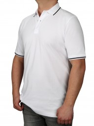 Poloshirt KITARO Weiss--Rumpf und Kurzärmel in EXTRALANG