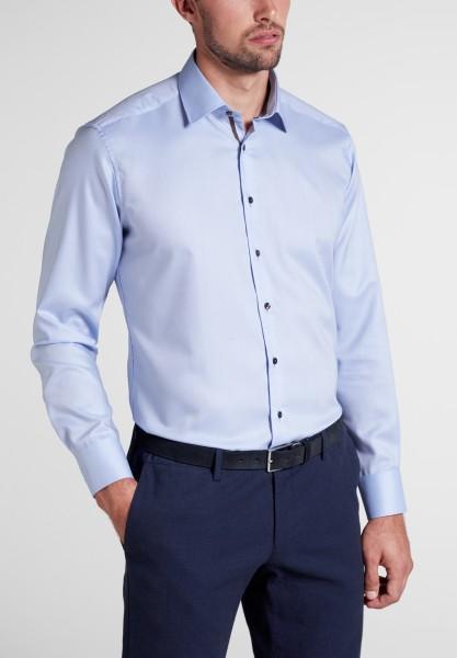 Hemden Extra langer Arm 68 cm, E T E R N A modern fit, Gemustert Hellblau