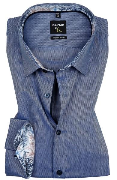 Hemden Extra Langer Arm 69 cm, OLYMP No. Six super slim, Struktur Blau