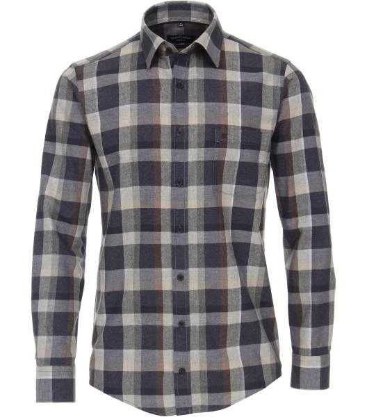 FLANELL-Freizeithemd, Extra langer Arm 72 cm, Casa Moda Casual Fit, Kariert Grau