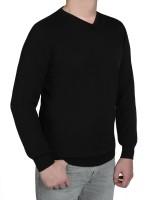 Extra langer Pullover Herren, K I T A R O-V-Ausschnitt, in Schwarz
