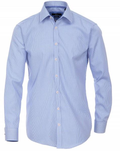 Hemden Extra langer Arm, 72 cm, Venti Slim Fit, Kariert Hellblau/Weiß