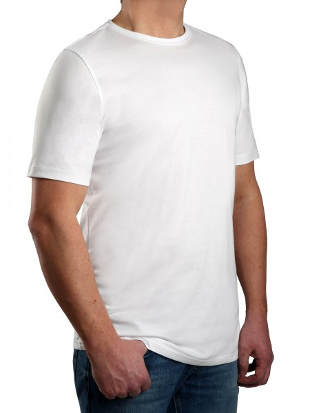 T-Shirt KITARO Rundhals Weiss-- EXTRALANG