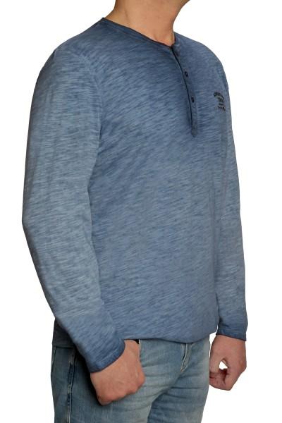 Langarm T-Shirt KITARO, Blau Rundhals mit Knopfleiste- EXTRALANG