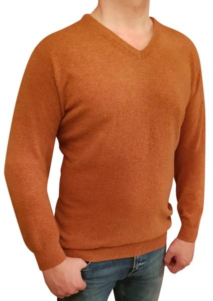 Kitaro Herren Strick-Pullover, Extra Langer Arm, Cognac