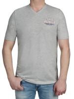 T-Shirt KITARO -V-Ausschnitt in Hellgrau mit Aufdruck, in Extra lang