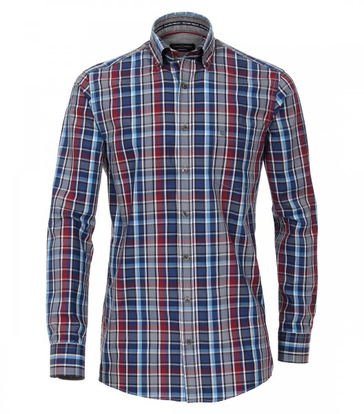 Freizeithemden Extra langer Arm 72 cm, Casa Moda, Comfort Fit, Kariert Blau/Rot