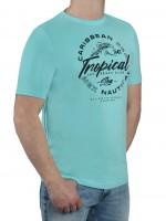 T-Shirt KITARO -Rundhals in Türkis mit Aufdruck, in Extra lang
