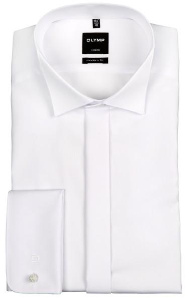 OLYMP Extra Langer Arm 70 cm, Hemd Luxor modern fit, Kläppchenkragen, Weiß