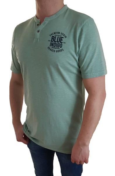 T-Shirt KITARO -Grün mit V-Knopfleiste, in extra lang