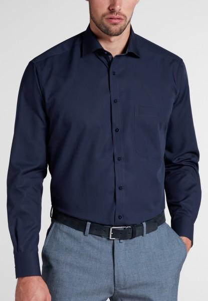 Hemden Extra langer Arm 68 cm, E T E R N A modern fit, Marine mit Ausputz