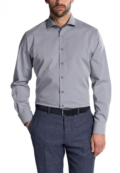 Hemd E T E R N A Modern Fit Grau, Extra langer Arm 72 cm
