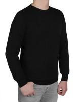 Extra langer Pullover Herren, K I T A R O-Rundhals, in Schwarz