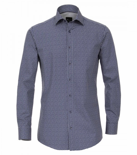 Hemden Extra langer Arm 72 cm, Venti Slim Fit, Gemustert Blau/Weiss